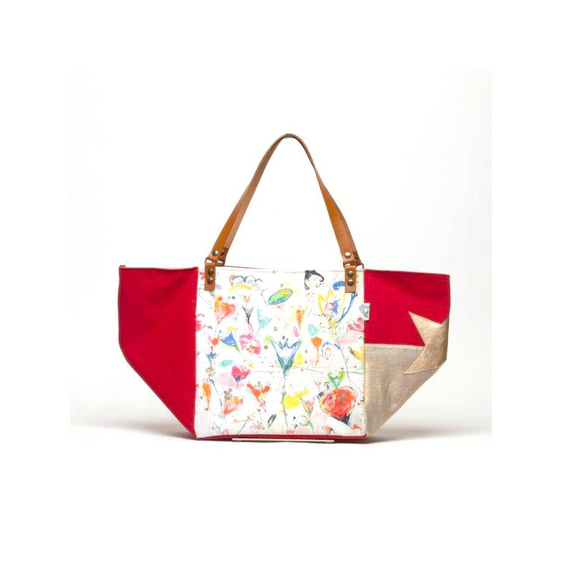 grand sac cabas toile rouge