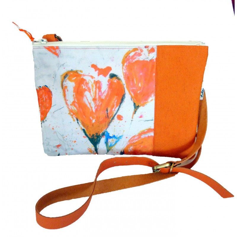 pochette orange bandoulière