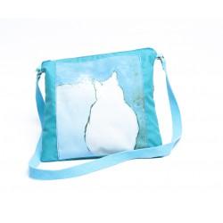 pochette nylon enduit turquoise