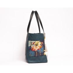 sac cabas bleu canard 'au bord du bassin d'arcachon - flamand rose