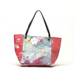 """sac cabas toile rouge """"fleurs et écriture"""""""