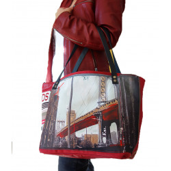 "sac cabas simili rouge ""le pont de Brooklyn"""