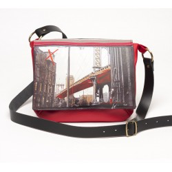 "besace rouge LILOU.S bandoulière ""brooklyn bridge"""