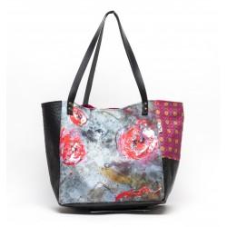 sac cabas simili noir 'envolée de roses'