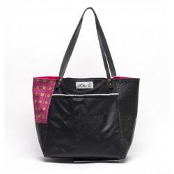 sac cabas simili noir 'envolée de roses' DOS