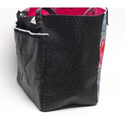 sac cabas simili noir 'envolée de roses' - côté