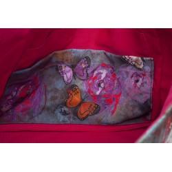 sac cabas simili noir 'envolée de roses' - poche