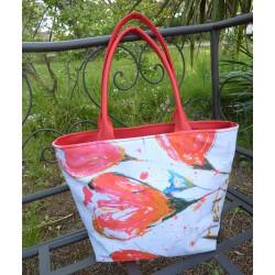 sac cabas rouge fleurs rouge